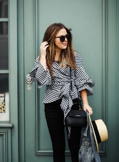 gingham in paris. Spring Wear, Seasons Of The Year, Fashion Seasons, Blogger Style, Every Girl, Gingham, Fall Outfits, Bell Sleeve Top, Dress Up