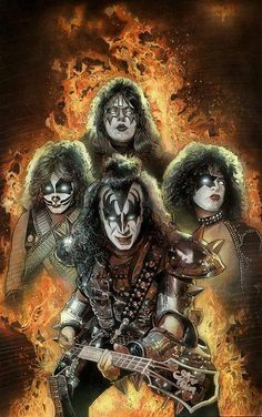 Kiss was an acquired taste for me. Go Kiss! Kiss Rock Bands, Kiss Band, Paul Stanley, Heavy Metal Music, Heavy Metal Bands, Rock Posters, Band Posters, Rock N Roll, Digital Foto