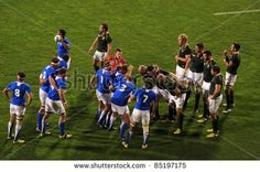 Rugby World Cup 2011 match between South Africa and Namibia at the North Shore Stadium in Auckland, New Zealand on September - stock photo Rugby World Cup, September 22, North Shore, Auckland, South Africa, Stock Photos, Running, Sports, Photography