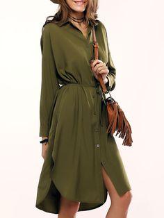 green slit shirt dress