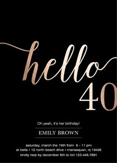 40th birthday invitations modern faux gold foil hello 40 fortieth 40th birthday invitations modern faux gold foil hello 40 fortieth birthday cards eco friendly free priority shipping or diy printable filmwisefo