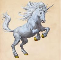 The Unicorn is a white, equine creature with a single horn on its forehead. Revered by Muggles.