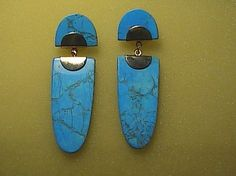 Fashion Enamel Turquoise Dangling Earrings in Gold Tone.