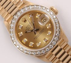 Rolex Lady President 18k Yellow Gold 26mm Watch-Champagne Diamond Dial-Diamond Bezel Gold Rolex, Stylish Watches, Luxury Watches For Men, Rolex Watches For Men, Jeager Le Coultre, Rolex Datejust, Rolex Modelle, Gold Case, Men's Watches