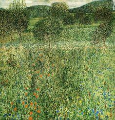 klimt-artwork: ca 1909 Gustav Klimt (Austrian Symbolist, 1862-1918) ~Blühender Garten