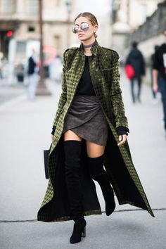 Hailey Baldwin's houndstooth Haider Ackermann coat and suede Dior boots and skirt gave us serious fall fashion goals.