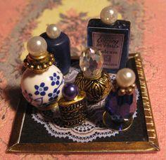 miniature: Dollhouse Miniature Royal Blue Vanity Tray with Hand Made Perfumes Powder
