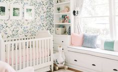 A big brother's nursery was transformed into a bright, white floral girl's nursery design for baby Layer Cakelet) Floral Nursery, Baby Nursery Decor, Baby Bedroom, Girls Bedroom, Project Nursery, Baby Girl Nursery Wallpaper, Bright Nursery, Rustic Nursery, Elephant Nursery