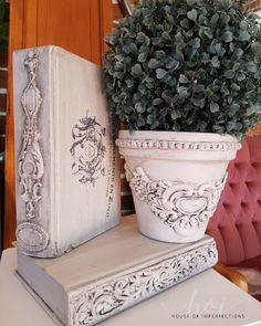 Inspiration for French style pot and painted books using Miss Lillians no wax chock paint products & IOD products Art Deco Furniture, Shabby Chic Furniture, Shabby Chic Decor, Painted Furniture, House Furniture, Book Crafts, Fun Crafts, Diy And Crafts, Decoupage
