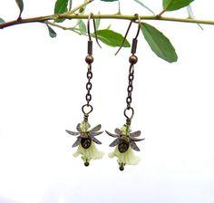 Tinker Bell Spring Green Earrings - Lucite Flowers, Flower Earrings, Green Earrings, Antique Gold, Swarovski Crystal. $12.00, via Etsy.