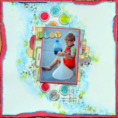Mixed Media Layout by Denise van Deventer using the Toy Box Collection and Decoupage Paper. #BoBunny @strawbspatch
