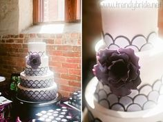 purple and white art deco inspired wedding cake with scallop pattern and floral accent