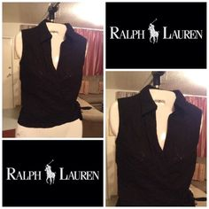 "Ralph Lauren Wrap around Top Ralph Lauren Wrap around Top ties on the side. Size Small 100% Cotton. Color Black. Stylish and very comfortable. Length ""21.5. Top Laying fiat is ""15. This item is in Good condition, Authentic and from a Smoke And Pet free home. All Offers through the offer button ONLY. I Will not negotiate Price in the comment section. Thank You Ralph Lauren Tops"