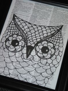 Owl Print Owl Art Print Owl Decor Owl Head by HamiltonHousePrints, $8.00. Could have the kids use black crayons on newspaper or old book pages. The words make the textures. Can leave just uncolored or color it in.