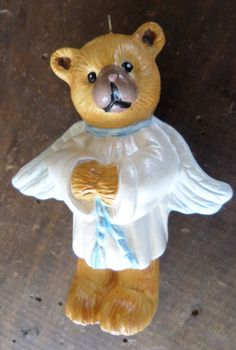 Handmade Porcelain Angel Teddy Bear Christmas Tree Ornament Ceramic Porcelain