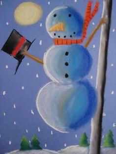 snowmen at night chalk pastel, grade 6