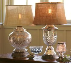 paint old lamps to look like mercury glass. use burlap on shades~Pottery Barn look alike