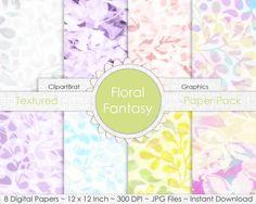 Floral Fantasy LINEN FLORAL Digital Paper Pack by ClipArtBrat