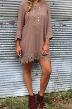The Vienna Mocha Bell Sleeve Shift Dress With Crochet Lace Hem