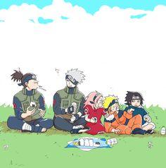 Team 7 and Iruka Kakashi Hatake, Naruto Uzumaki, Naruto Sasuke Sakura, Sasunaru, Naruto Comic, Anime Naruto, Naruto Cute, Anime Manga, Fanart