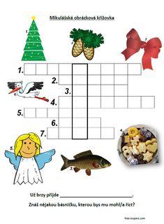 Jednoduchá obrázková Mikulášská křížovka pro děti. Advent, Children, Christmas, Projects, Young Children, Xmas, Boys, Kids, Navidad