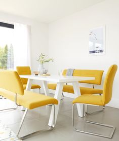 The Zen White Gloss and Fergus Mustard Dining Bench Set combines a modern dining table with a trendy yellow bench and matching cantilever dining chairs. This mustard dining bench set will add a lovely pop of colour to your dining room. Yellow Kitchen Tables, Yellow Dining Chairs, Fabric Dining Chairs, Kitchen Chairs, Dining Furniture, Kitchen Dining, Dining Bench With Back, Table And Bench Set, Modern Dining Table