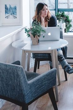 The Mara Cafe Table works great as a secondary office space.
