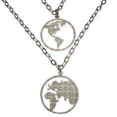 """Peace on Earth Double Hemisphere Silver-dipped Necklace. 20% of From War to Peace profits are dedicated to peace and social justice organizations committed to transforming our world. Hand crafted from disarmed & recycled American Weapons of War. Our packaging is created using recycled and biodegradable materials. Our gold-dipped and silver-dipped jewelry is cast from Peace Bronze, and plated using recycled precious metals. Measures 1"""" Tall and 1"""" Wide."""