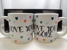 Love-You-More-Coffee-Cup-Mug-18-oz-Large-Set-Wedding-Anniversary-New-Boxed