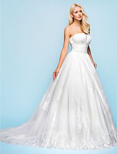 Ball Gown Strapless Chapel Train Organza And Tulle Wedding ... – USD $ 147.49