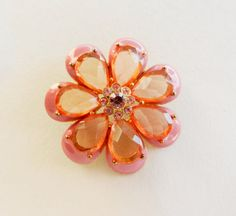 1960 vintage brooch  a beautiful flower in enamel by RAKcreations, $38.00