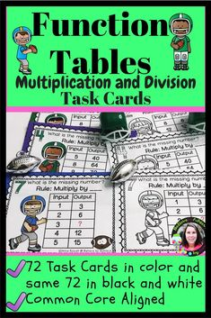 Function Tables - Multiplication and Division Input Output Tables Task Cards - Real Time - Diet, Exercise, Fitness, Finance You for Healthy articles ideas Division Activities, Multiplication Activities, Multiplication And Division, Math Activities, Math Lessons, Math Skills, Creative Class, Math Stations, Teaching Resources