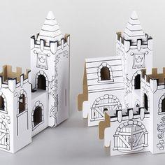 3D colouring! Castle by Paper Pukekos...
