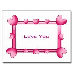 "Pink Hearts ""Love You"" Postcard"