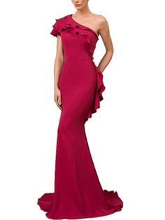 Newdeve One Shoulder Magenta Mermaid Silhouette with Short Train Evening Dress -- Learn more by visiting the image link. (This is an affiliate link) Women's Evening Dresses, Formal Dresses, Mermaid Silhouette, Magenta, One Shoulder, Train, Image Link, Fashion, Dresses For Formal