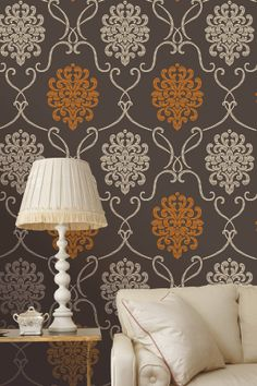 Suzette Brown Modern Damask Wallpaper