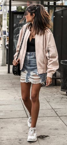 how to style a pink bomber : bag   top   denim shirts   sneakers