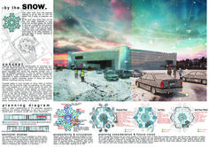 Board1_BY THE SNOW (Heng Choon Yong) Santa´s logistics center is created by an inspiring idea that is conceptualized by snow. The pattern of a single snowflake brought as a design which is able to take advance on both aesthetic and functionality value. The snowflake pattern bonds with every required space in the huge building and effectively reduces outdoor activities and increases work efficiency. Future Vision, Snowflake Pattern, Outdoor Activities, Bring It On, Santa, Concept, Space, Building, Inspiration