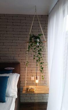 Hanging shelves, hanging nightstand idea