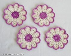 HÁČKOVANÉ PODTÁCKY PODLOŽKY POD HRNEČEK Crochet Tablecloth, Crochet Doilies, Crochet Flowers, Knit Crochet, Coasters, Crochet Earrings, Projects To Try, Mandala, Embroidery