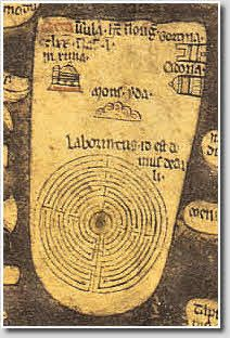 """Without doubt, one of the smallest of the historic labyrinths on general public view in England, the tiny labyrinth labelled """"Laborintus id est domus dedali"""" (Labyrinth, the house of Daedalus) that occupies the island of Crete on the Mappa Mundi in Hereford Cathedral is only a few inches across. Created c.1280 AD"""