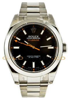 This watch is an Authentic Rolex Milgauss Model 116400 Black Dial Edition with a Stainless Steel Oyster Bracelet. The watch is in Mint Day one condition and comes with all box, booklets, tags, and all applicable paperwork. http://goldwatchco.com/Browse/Product/2308/Rolex-40mm-Stainless-Steel-Milgauss-Model-116400-Black-Dial