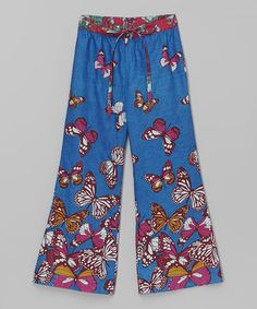 Love this Blue Butterfly Palazzo Pants - Toddler & Girls by Yo Baby on #zulily! #zulilyfinds
