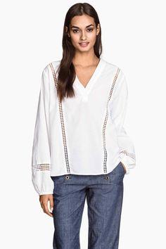 Bluză cu decolteu în V, bumbac   H&M
