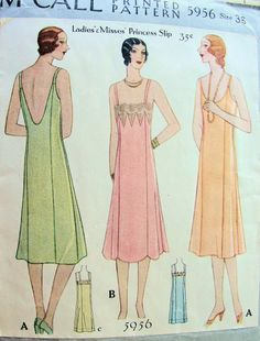 1920s PRINCESS SLIPS PATTERN 3 ART DECO STYLES, FABULOUS LOW BACK VERSION McCALL PATTERNS 5956