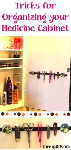 Magnetic strip for beauty supplies from The Frugal Girls