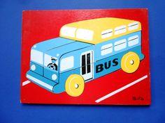 Vintage Wooden Jigsaw Puzzle, School Bus, Sifo by lizandjaybooksnmore on Etsy
