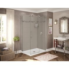 32 corner shower kit. Utile By MAAX 32 In  X 48 83 5 Corner Shower Kit Origin Greige With Brushed Nickel Door Shower Kits And