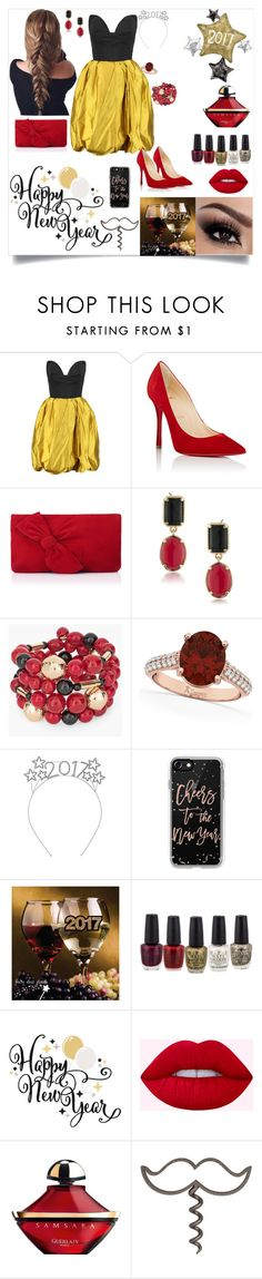 """""""Celebrating the New Year (2017)"""" by turntopaige4 ❤ liked on Polyvore featuring Oscar de la Renta, Christian Louboutin, L.K.Bennett, 1st & Gorgeous by Carolee, Chico's, Allurez, Casetify and Guerlain"""