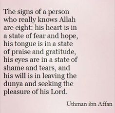 Signs of a person who knows Allah(swt).